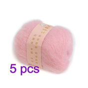 COFCO 5pcs Soft Natural Angola Mohair Cashmere Wool Knitting Skein Yarn - Pink
