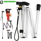 Comtechlogic® CM-4003 Adjustable Folding Metal Folding Cane Travel Use Folding Walking Hiking Stick