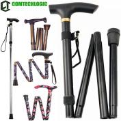 Comtechlogic® CM-4003 Adjustable Folding Metal Folding Cane Travel Use Folding Walking Hiking Stick