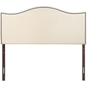 Simple Relax 1PerfectChoice Curl Fabric Button Nailhead Upholstered Queen Headboard In Ivory