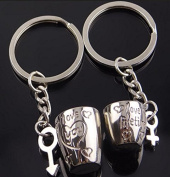 DROVE Metal Creative Cup Style Couple Car Pendant Bag Key Ring for Gifts-Silver