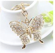 TFXWERWS Beautiful Handbag Pendant Rhinestone Butterfly Keychain Key Ring