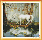 DIY Arts Crafts and Sewing Animal Cross-Stitching Needlepoints Kit Home Decor Four Seasons Embroidery Set Counted Cross Stitch Kits Unicorn Garden 62x61CM