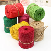 Bazaar 2m Colourful Natural Jute Hessian Burlap Ribbon Sewing Craft Wedding Christmas Gift Decoration
