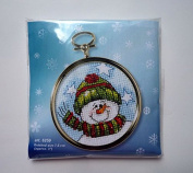 Orchidea Embroidery Kit with Small Golden Frame Round 75cm Snowman 6259