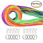 Keriber 140 Pieces Scoubidou Strings Plastic Lacing Cord with Snap Clip Hooks and Keychain Ring Clips for Jewellery Making DIY Craft Gimp String, 120m,12 Colours