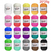 BCMRUN 20 x 25g Skeins Bonbons Yarn Assorted Colours 100% Acrylic for Crochet & Knitting Multi Pack Variety Coloured Assortment