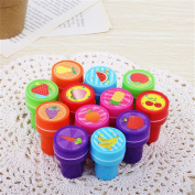 Gluckliy 12pcs Cute Cartoon Stampers Plastic Self Inking Stamp Set for Arts Crafts & Paper Drawing Play
