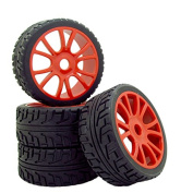 4PCS Red Double 6 Spokes Wheels Rims Rubber Tyres Hex 17mm Front & Rear Same Size Tyres for 1:8 Buggy