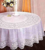 100% Embossed Vinyl PVC Lace Round Tablecloth Table Cover 54""