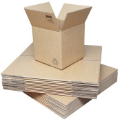 Double Wall Cardboard Boxes - Medium Cube Size 254x254x254mm (10x10x10ins). 20 / Pack. Strong Flatpacked Packing Boxes for Moving, Posting & Storage. Easy Assembly. Crush-Resistant Corrugated Brown Board Packaging Cartons with Lid Flaps & Kraft Finish. ..