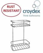 CROYDEX 2 TIER SHOWER CADDY BATHROOM STORAGE SHELF BASKET RACK RUST RESISTANT