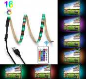 Bomcosy RGB TV LED Backlight Strip Lighting Kit with 24 Key Remote Control USB Powered 1M 16 Multi Colour Mood Lights for HDTV Home Theatre Desktop PC