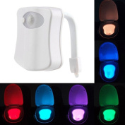 Sensor Toilet Nightlight , Woopower 8-colour Changes Body Sensing Auto Motion LED Night Lamp For Home Toilet Bowl Lid Lamp in Darkness