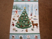 Christmas woodland tree panel with snowman and reindeer pattern no 8605P time of wonder 60x110cm