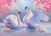 5D DIY Diamond Painting Kit, Two Swans Rhinestone Embroidery Cross Stitch Set Arts Craft For Home Wall Decor 11.8*15.7 inch
