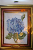 Half Cross Stitch Printed Canvas Kit 43101 Blue Rose - Design Size 14x18cms all materials included
