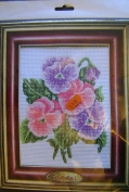 Half Cross Stitch Printed Canvas Kit 43105 Pansies - Design Size 14x18cms all materials included