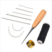ODN 7 pcs Curved Hand Sewing Needles Sewing Needles with Leather Waxed Thread Cord Drilling Awl and Thimble for Leather Repair