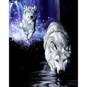 5D DIY Diamond Painting White Wolf Rhinestone Hand Craft Embroidery Kits Arts