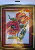 Half Cross Stitch Printed Canvas Kit 43104 Poppies - Design Size 14x18cms all materials included