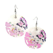 _br/_Drop Earrings Featuring Discs of Shell Printed with Floral Design._br/_Drop Earrings Featuring Discs of Shell Printed with Floral Design._br/_ Earrings with Shell Discs Printed