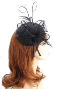 Black Sinamay Pillbox Style Hair Fascinator finished on 9cm Sprung Clip - Fabulana