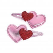 Girls pack of 2 sparkly pink heart snap hair clips