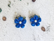 Kanzashi tsumami Flower Hair Clip. Set of 2 Kanzashi hair clips. Japanese Kanzashi Geisha Hair decoration. Blue and white flower hair deco