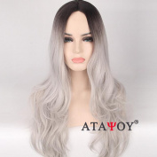 ATAYOU® Natural Looking Grey Ombre Wigs - Fashionable Long Straight Grey Wigs for Women Daily Use And Fancy Dress Costume