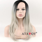 ATAYOU® Natural Looking Long Straight Grey Ombre Wigs for Women