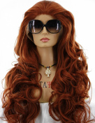 ATAYOU® Long Curly Wavy Brown Lace Front Wigs for Women Daily Use and Fancy Dress + 1 Free Wig Cap