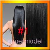 HotHair 50cm Human Hair Clip In Hair Extension100g Weight- Jet Black
