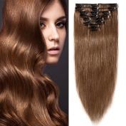 HotHair 50cm Human Hair Clip In Hair Extension100g Weight- Medium Brown Colour 6