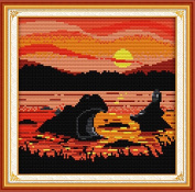Joy Sunday Cross Stitch Kit 14CT Stamped Embroidery Kits Precise Printed African Style Needlework - The sunset hippo 25×25CM