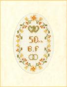 Mini Golden Wedding Anniversary card kit - complete cross stitch kit on 16 ivory aida