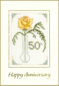 Rose 50th Anniversary card - Golden Wedding - complete cross stitch kit on 16 aida with clear COLOUR chart