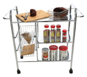 Mind Reader 3CAR2BASK-SIL 3-Tier Kitchen / Utility Cart with 2 Shelves, 2 Baskets For Extra Storage, Handles for Hanging Towels
