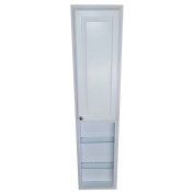 WG Wood Products Recessed Tyler Pantry Storage Cabinet with 90cm Shelf & 8.9cm Deep, 170cm , White Enamel