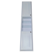 WG Wood Products Recessed Tyler Pantry Storage Cabinet with 60cm Centre Shelf & 8.9cm Deep, 200cm , White Enamel