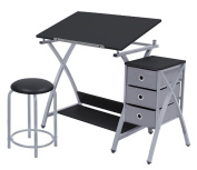 Offex Home Comet Centre with Stool Silver / Black
