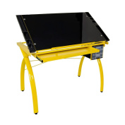 Offex Home Futura Craft Station Yellow / Black Glass