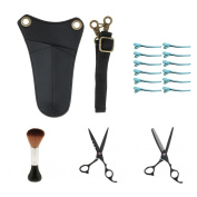 Dolity Salon Hairdresser Hair Styling Tools, Thinning Cutting Scissors & Neck Duster Cleaning Brush & Hair Section Clips & Leather Waist Pouch Bag