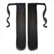 Clip In Human Hair Wrap Around Ponytail - Black 60cm '
