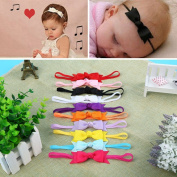 Gemini_mall® 10pcs Newborn Baby Girl Infant Toddler Boutique Headband Bow Ribbon HairBand Accessory