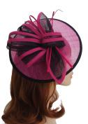 Hot Pink and Black Sinamay Circular Saucer Shaped Hair Fascinator Hatinator with Large Bow on Slim Headband - Fabulana