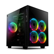 anidees AI-Crystal-CUBE-AR ATX Steel / Tempered Glass Cube Gaming PC Case Support E-ATX, 280/240 Radiator included RGB Fans - Black