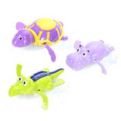 Zantec 3 Pcs Children Plastic Bath Toy Swimming Wind-up Hippo Turtle Crocodile Toy Set Random Colour