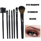 SMILEQ Professional 7 Pcs Wood Makeup Brush Eyeshadow Eyelash Blush Cosmetics Blending Brush Tool