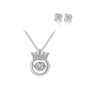 Yoome Jewellery 925 Sterling Silver CZ Dancing Heart Crown Pendant Necklace for Women Elegant Necklace and Earrings Set